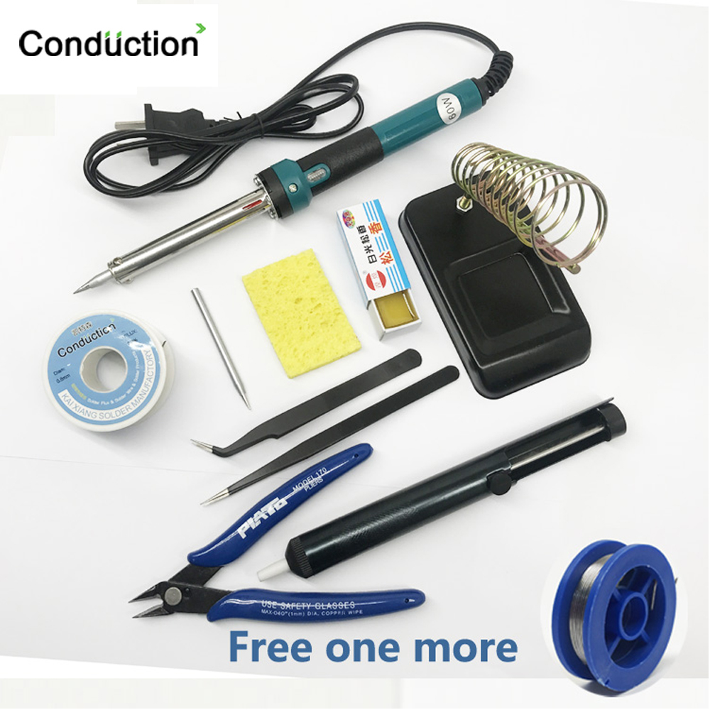 220V/110V/EU/US 60W Electric Soldering Iron Welding Repair Hand Tool Set With Welding Tools Kit Wood Burning Pen Set With Stand