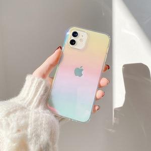 Image 1 - Dla iphone 12 12Pro Max przezroczysty laser odporny na wstrząsy etui dla iphone 11 11pro X XR XS Max 7 8Plus SE twardy akryl skrzynki pokrywa