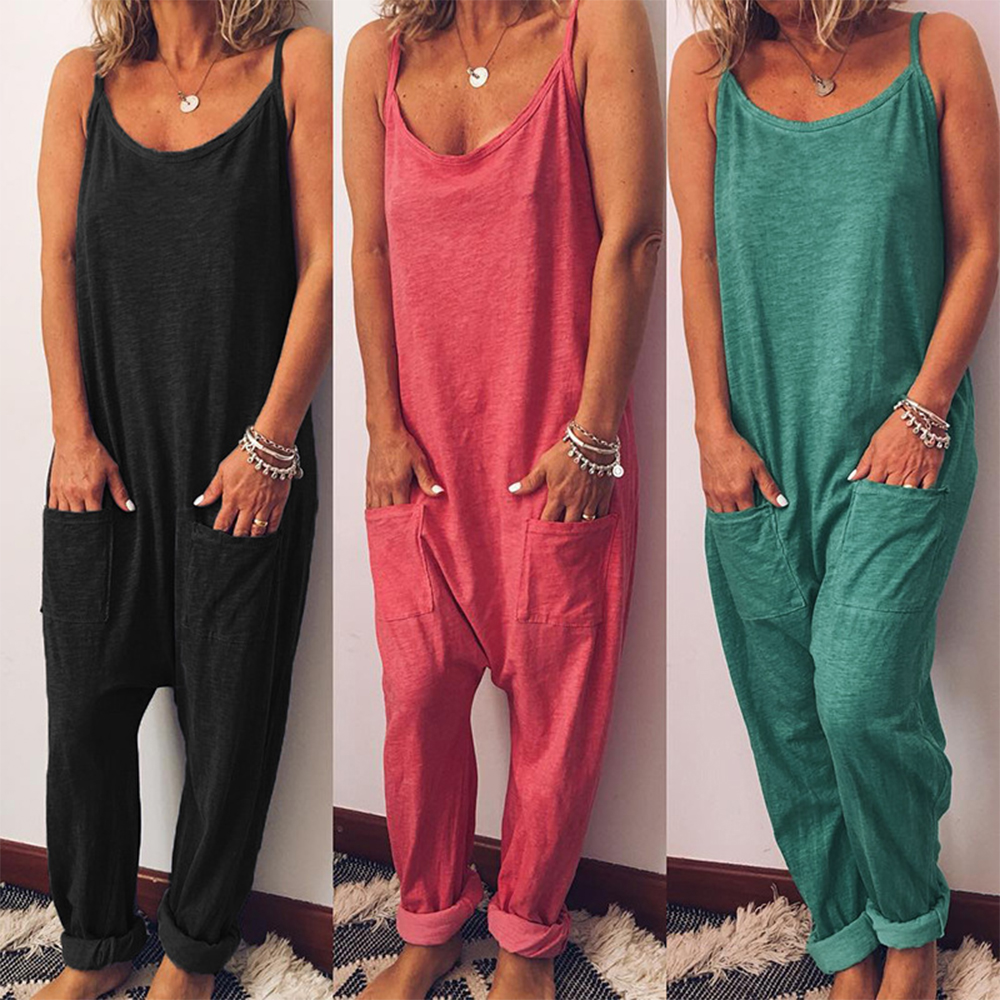2019 New Women Jumpsuits Cargo Pants Loose Long Wide Leg Playsuits Pants Thin Female Bodysuits High Quality Sleeveless Clothing