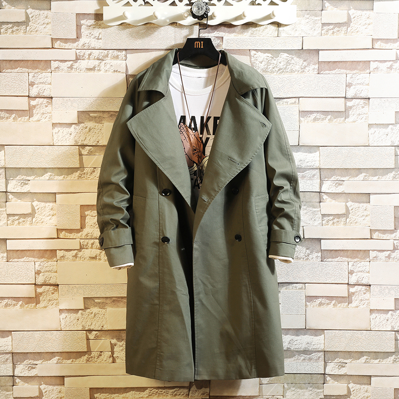 2019 New Trench Coat Jacket Overcoat Casual Men's Windbreakers Solid Color X-Long Men Fashion Autumn Jackets