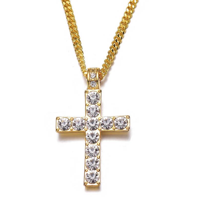 Hot Drop Shipping Hip Hop krzyż ze stopu naszyjnik Iced Out Rhinestone złoty srebrny Tone krucyfiks urok biżuterii