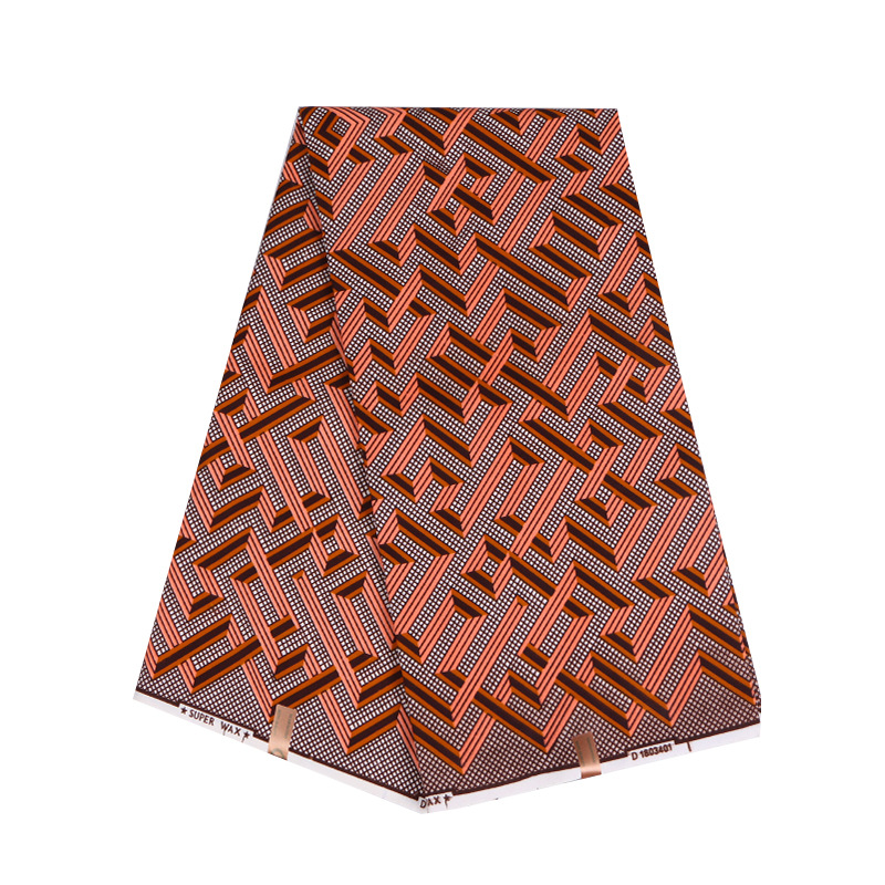 Brown Polyester Geometric Patterns Printed African Ankara Wax Fabric Breathable High Quality Ankara African Wax Print Fabric