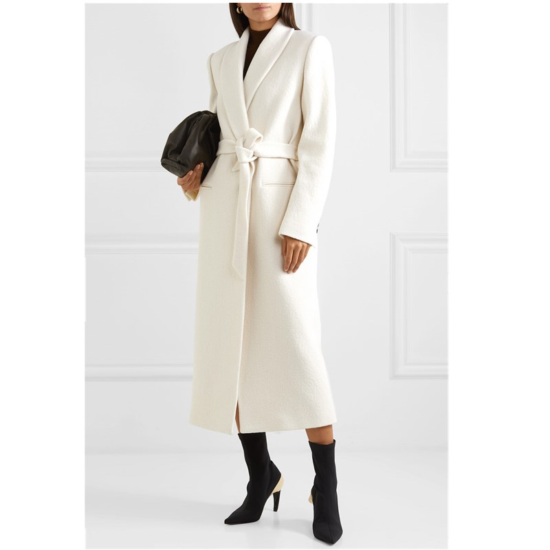 2019 New Winter Womens Woolen Coat With Sashes Cas