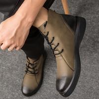 Boots men Genuine Leather Big size 47 Ankle boots for men Wear resistant Non slip Rubber Snow boot Plush Warm Winter shoes men