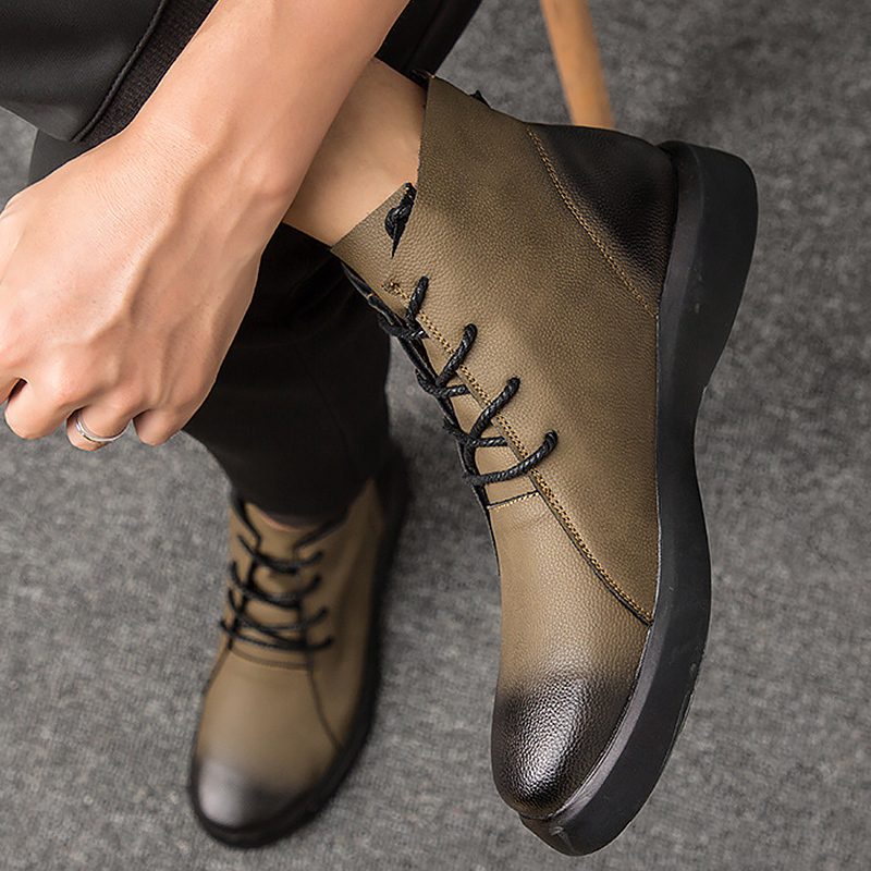 Boots Men Genuine Leather Big Size 47 Ankle Boots For Men Wear Resistant Non-slip Rubber Snow Boot Plush Warm Winter Shoes Men