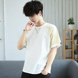 Image 4 - Летняя мужская футболка с коротким рукавом семь мужчин ulzzang tide свободные пять с половиной рукавом XueShengChao брендовая одежда