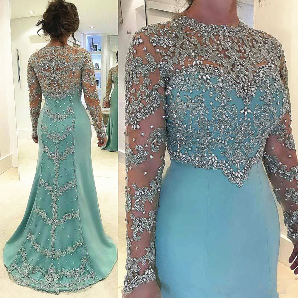 Sparkly Silver And Light Sky Blue Evening Dresses Long Sleeve Mermaid Formal Occasion Prom Party Gowns Customize Plus Size
