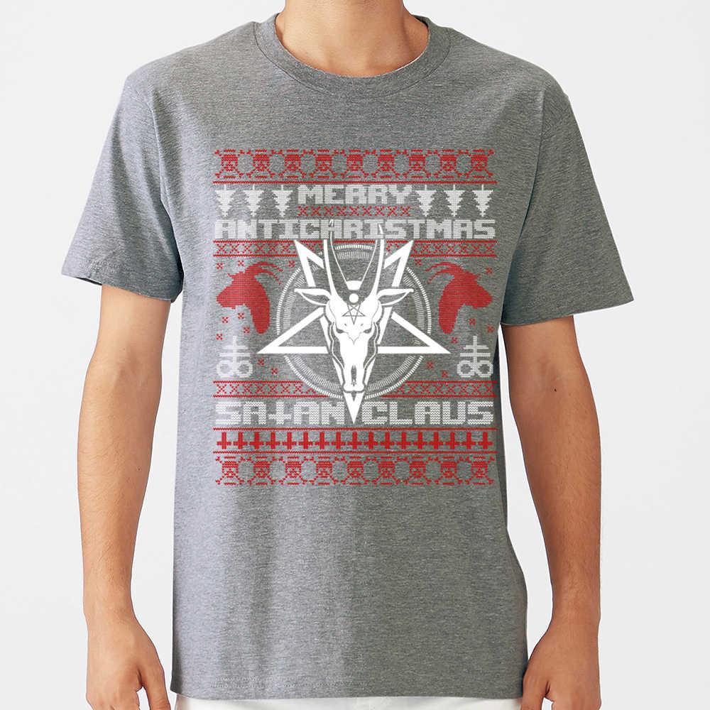 탑 T 셔츠 남성 메리 antichristmas 사탄 클로스 추악한 스웨터 니트 맞는 비문 긱 짧은 남성 Tshirt XXX