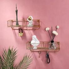 Rack Organizer Iron-Hook-Rack Decorative Toilet-Storage Wall-Shelf Kitchen Gold Homelily