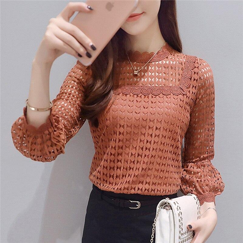 Lace   Shirts   2019 New Nine-quarter sleeve Women tops Lace O-neck ruff Sleeve Fashion Autumn Brown   Blouse     Shirts   Women   Blouses   16J