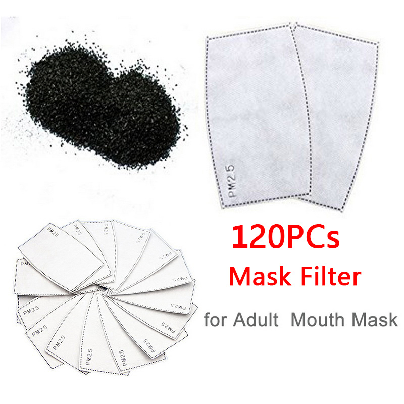 120PCs PM2.5 Filter Disposable Mouth Mask Filter Facial Protective Masks Anti Dust Anti Pollution Masks Insert Protective Filter