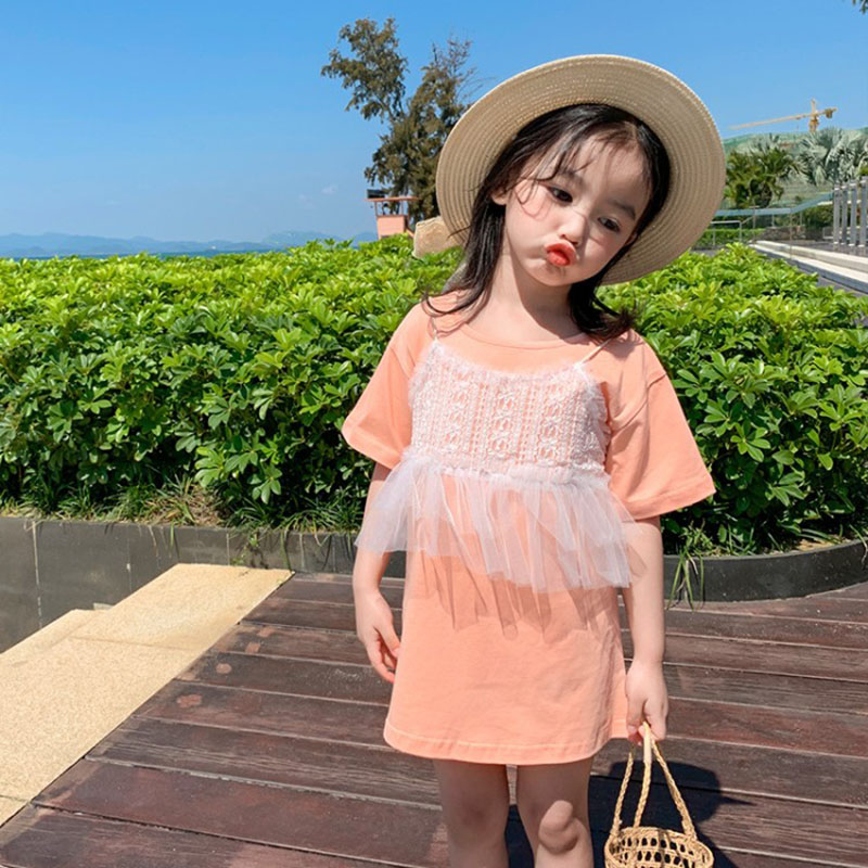 Summer <font><b>girls</b></font> <font><b>dress</b></font> baby tee <font><b>dress</b></font> kids long <font><b>t</b></font> <font><b>shirt</b></font> children fashion clothes fake two strap ruched lace patch 1 to 7 yrs image