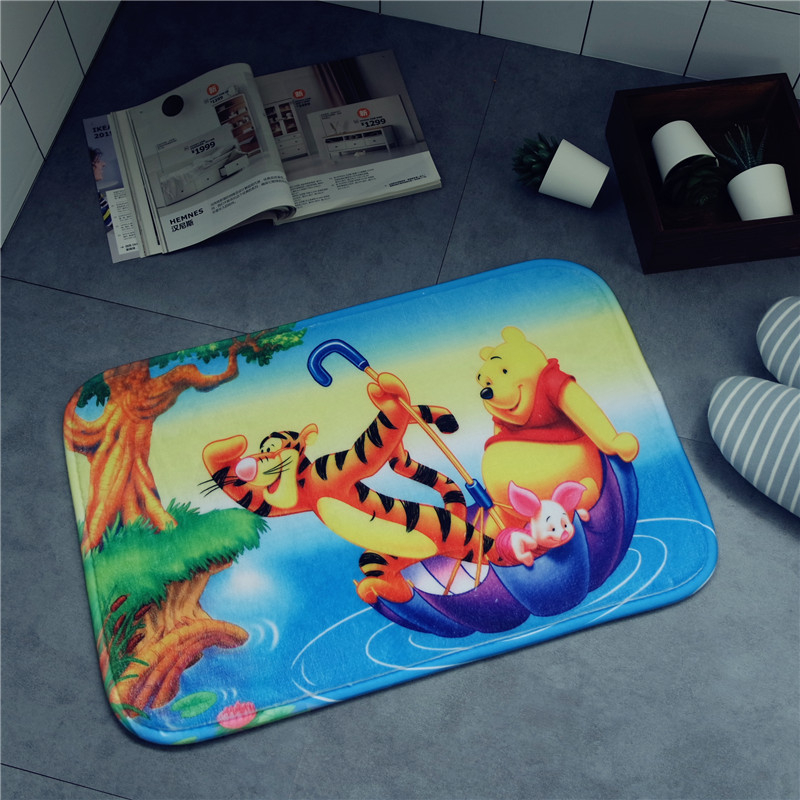 Cartoon Winnie The Pooh Mat Cushion 38x58cm Door Mat Bathroom Mat Kitchen Doorway Children Room Balcony Mat Bedroom Carpet