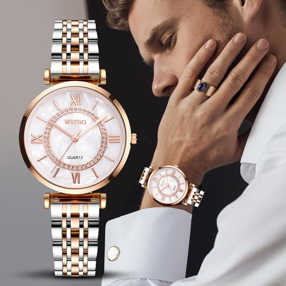 Fashion Women Mens Casual Alloy Strap Watch Wrist Watch Dress Golden Wrist Watch Women Men Mens Watches Top Brand Luxury @3