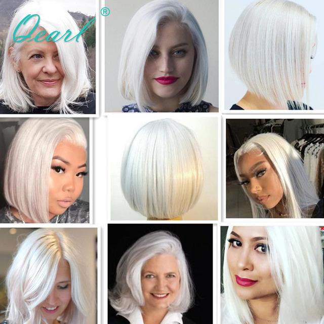 Short Bob Straight Human Hair Wig White Blonde Lace Frontal Wig for Women Pink Red Grey Colored Virgin Hair 13x1 150% Lace Front 6