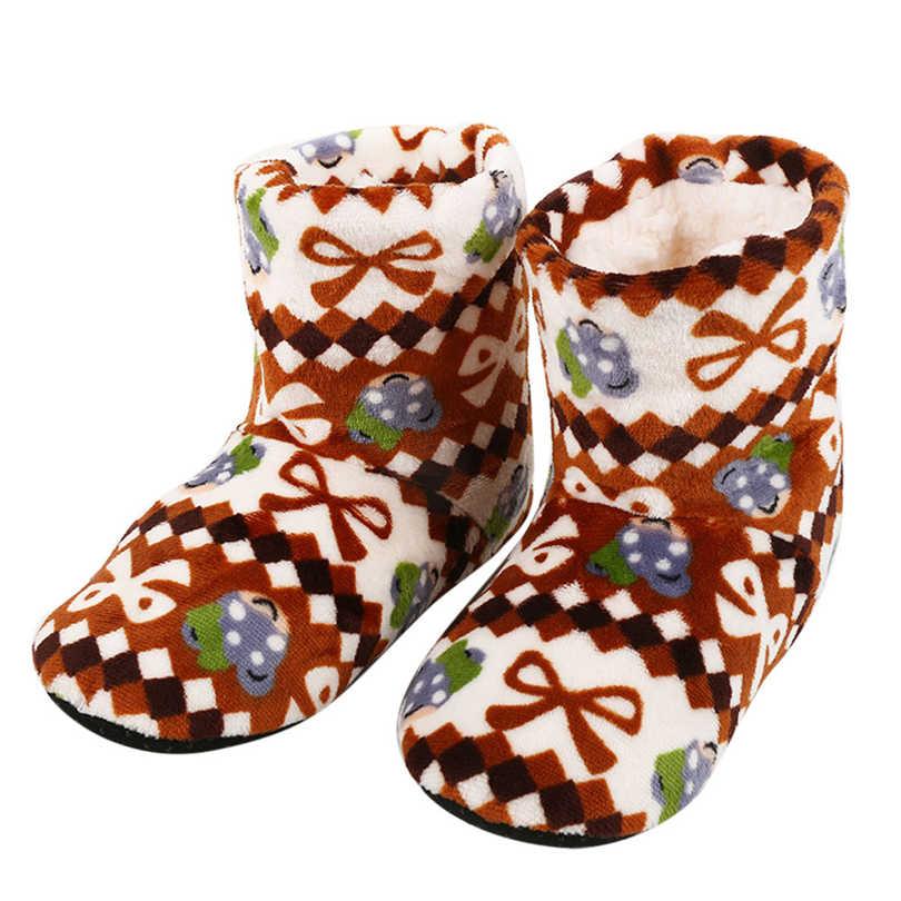 Kış sıcak botlar bayan kalın peluş sıcak kapalı ayakkabı yumuşak alt ev botları kadın pamuk yastıklı ayakkabı noel Bootie A40