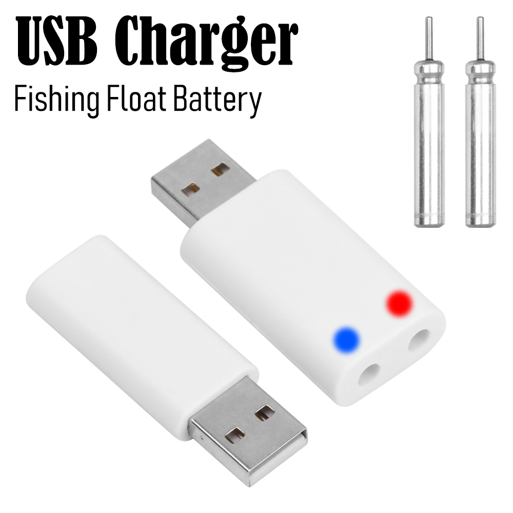 2 Pcs Float Battery+1PC 1/2 Holes CR425 Fishing Float Battery USB Charger Electronic Batteries Durable Night Fishing Accessories