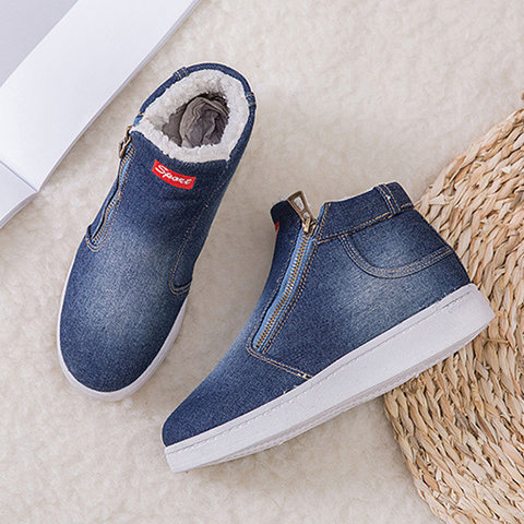 Denim winter shoes woman 2019 new women sneakers side zipper plush platform warm winter canvas shoes tenis feminino plus size Multan