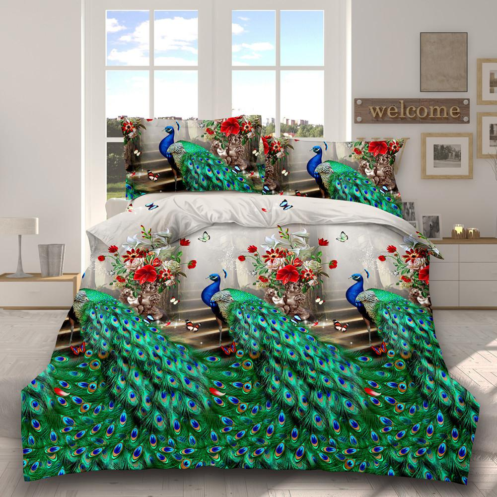 LanLan 3D Printed Stylish Bed Set Linens Bed Sheet Quilt Cover Pillowcases Wedding Housewarming Decoration 4Pcs/Set