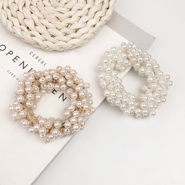Woman Big Pearl Hair Ties Fashion Korean Style Hairband Scrunchies Girls Ponytail Holders Rubber Band Hair Accessories 6