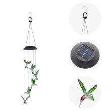 Bestsellery Solar dzwonek wietrzny światła Hummingbird Solar prezent światła kolor LED ogrodowa balkon sypialnia wisząca lampa