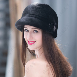 New Winter Warm Mink Hat Women's Mink Whole Mink Hat Real Fur Winter Ear Fur Hat