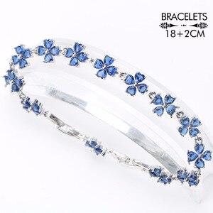 Image 2 - Wedding Silver 925 Jewellery Costume Jewelry Sets Women Blue Zirconia Bracelet Ring Pendant Necklace Earrings Set Gift Box