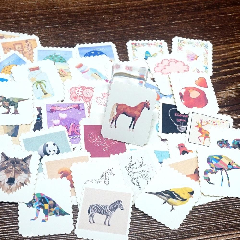 42PCS Cute Cartoon Animals Paper Stickers Kawaii Stickers For Kids Children Girls Boys DIY Letter Diary Scrapbooking Stickers