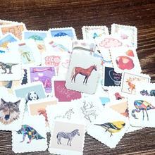 цена на 42PCS Cute Cartoon Animals Paper Stickers Kawaii Stickers For Kids Children Girls Boys DIY Letter Diary Scrapbooking Stickers