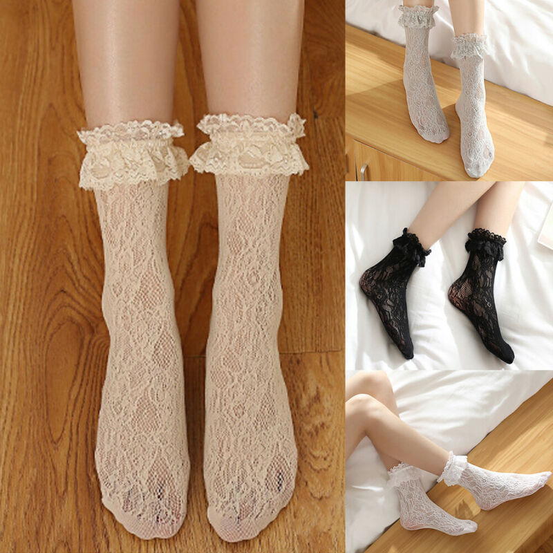 Sweet Retro Woman Lolita Ruffled Casual Lace Princess Short Socks Kawaii Meias Sox Pink Black White Gray Beige For Ladies Girls
