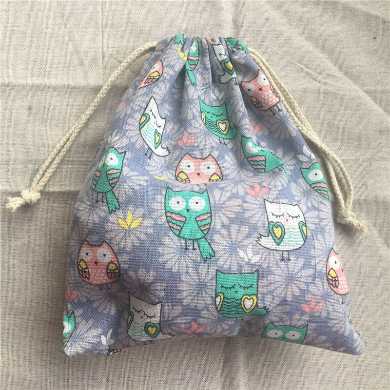 1pc Cotton Linen Drawstring Pouch Party Gift Bag Owls Purple Flower Base YL2033b
