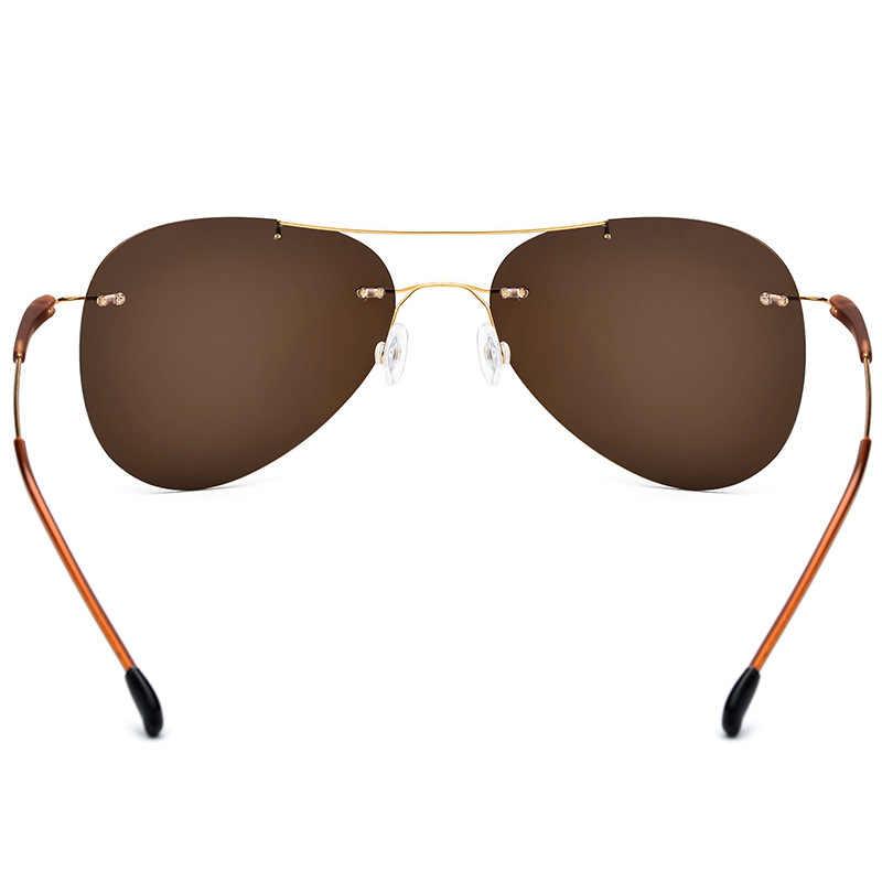 Rimless Sunglasses Titanium TR90 Women 2019 Hot Luxury Brand Designer Screwless Frameless Aviation Polarized Sun Glasses for Men