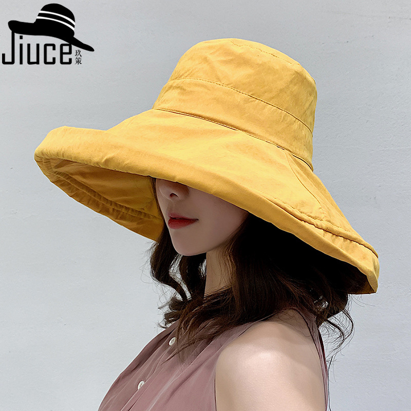 Bucket Hat Children South Korea Harajuku Solid Color Large Brimmed Topee Outdoor Foldable Sun-resistant Beach Hat Summer Bucket
