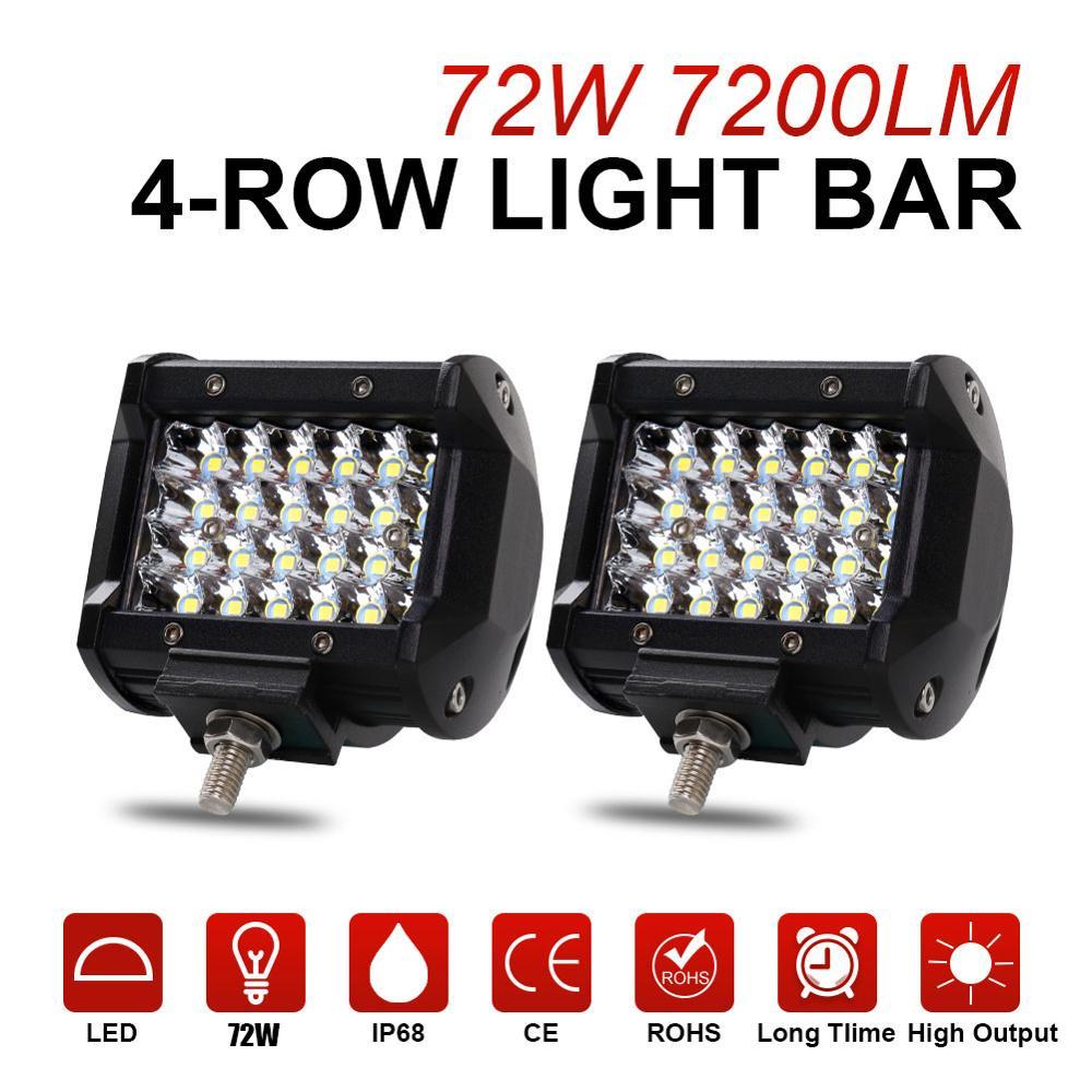 Led Bar Lights For Trucks | NAO LED Bar  Work Light 12V 24V 72W 4×4 Accessories Off Road 4inch Ledbar For ATV Car SUV Trucks Auto Fog Light Working Light