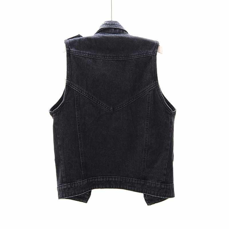 Casual denim sem mangas jaqueta feminina primavera 2020 lapela preta curto colete plus size 5xl alta rua cardigan colete feminino