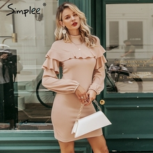 Simplee Elegante Ruches vrouwen jurk Coltrui lantaarn mouw vrouwelijke slim party dress Casual dames werkkleding herfst winter jurk