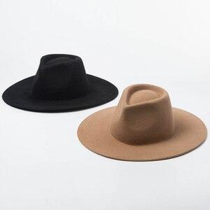 Image 2 - 100% Wool Classical Wide Brim Porkpie Fedora Hat Camel Black Hats Men Women Crushable Winter Hat Derby Wedding Church Jazz Hats