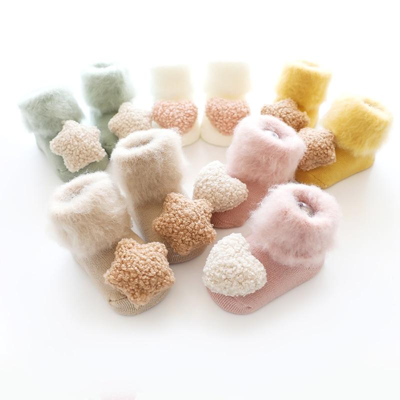 Non Slip Socks Baby Newborn Socks Winter Warm Baby Boy Socks Rubber Soles Anti Slip Thick Socks Terry 2 Pairs/set Girl Infants