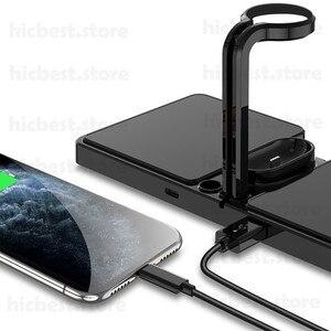 Image 5 - 3 ב 1 אלחוטי מטען Dock תחנה עבור iPhone 11 Airpods פרו אלחוטי טעינת מטען מגנטי עבור אפל שעון סדרה 5 4 3 2
