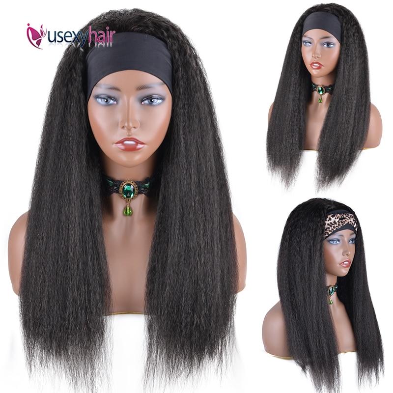 "Headband Wig Kinky Straight Human Hair Wigs 28"" Brazilian Yaki Straight Curly Remy Glueless Half Wig With Headband Easy to Wear"