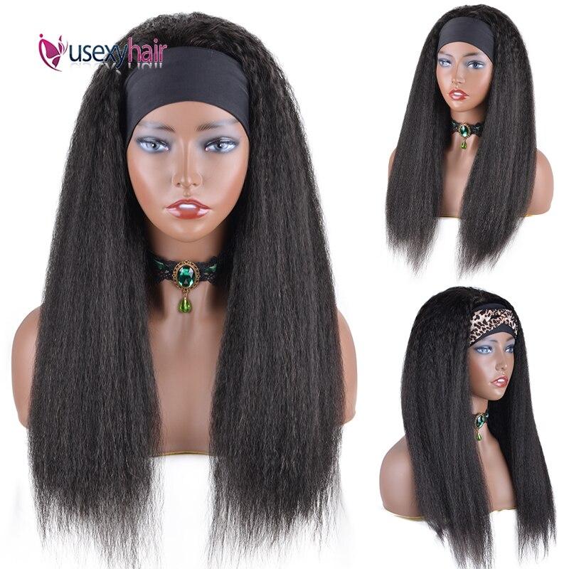 Kinky Straight Human Hair Wig With Headband Brazilian 28 30 Inch Glueless Full Machine Made Wigs Yaki Half Wigs Human Hair Remy