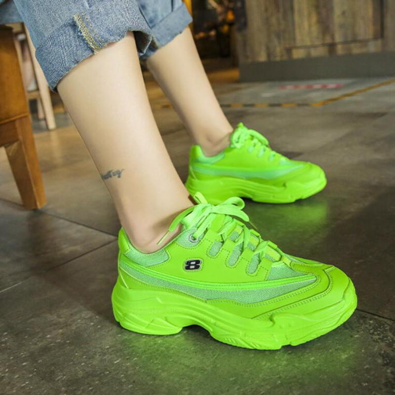 Brand Chunky Sneakers Women Vulcanize Shoes NEW Bright Candy Color Casual Shoes Woman Sneakers Women Flats Platform Ladies Shoes