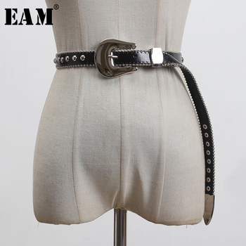 [EAM]  Pu Leather Black Metal Buckle Split Joing Long Belt Personality Women New Fashion Tide All-match Spring 2020 1S921