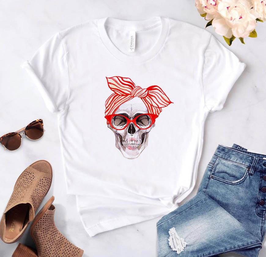 Bandana Skull Print Women Tshirt Cotton Casual Funny T Shirt Gift 90s Lady Yong Girl Drop Ship S-886