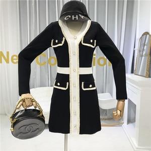 Image 4 - ALPHALMODA Mùa Thu 2019 Pháp Mới Cổ V Dài Tay Và Đầm Dệt Kim Nữ Eo Thon Giả Bỏ Túi Thời Trang Bộ Trang Phục