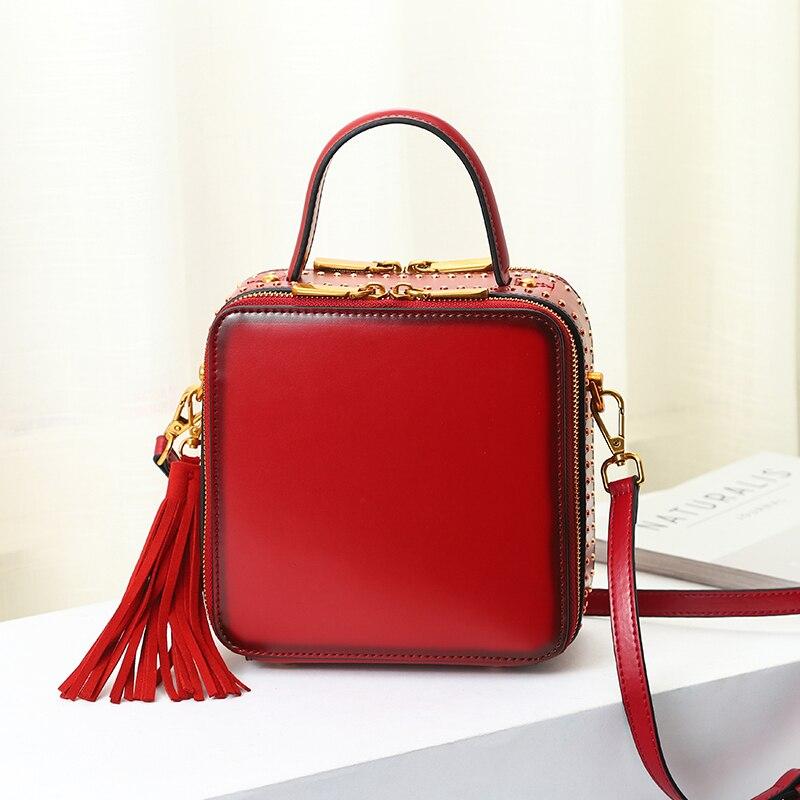 Burminsa Mini pomponem prawdziwej skóry torby na ramię kobiety Messenger torby w kształcie pudełka dziewczyny torebki wysokiej jakości nit kobiet torby na ramię w Torby z uchwytem od Bagaże i torby na  Grupa 1