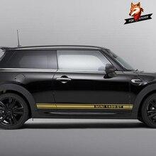 1 пара Автомобильная боковая Полосатая юбка графическая Наклейка для MINI Cooper One D JCW Clubman F54 F55 F56 F60 R55 R56 R60 аксессуары