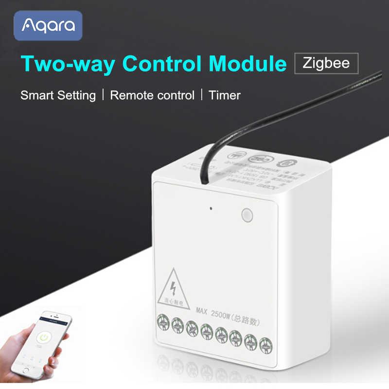 Aqara de dos-Control de vía módulo Zigbee controlador inalámbrico inteligente temporizador de la configuración de Control de la aplicación de múltiples para Mi casa