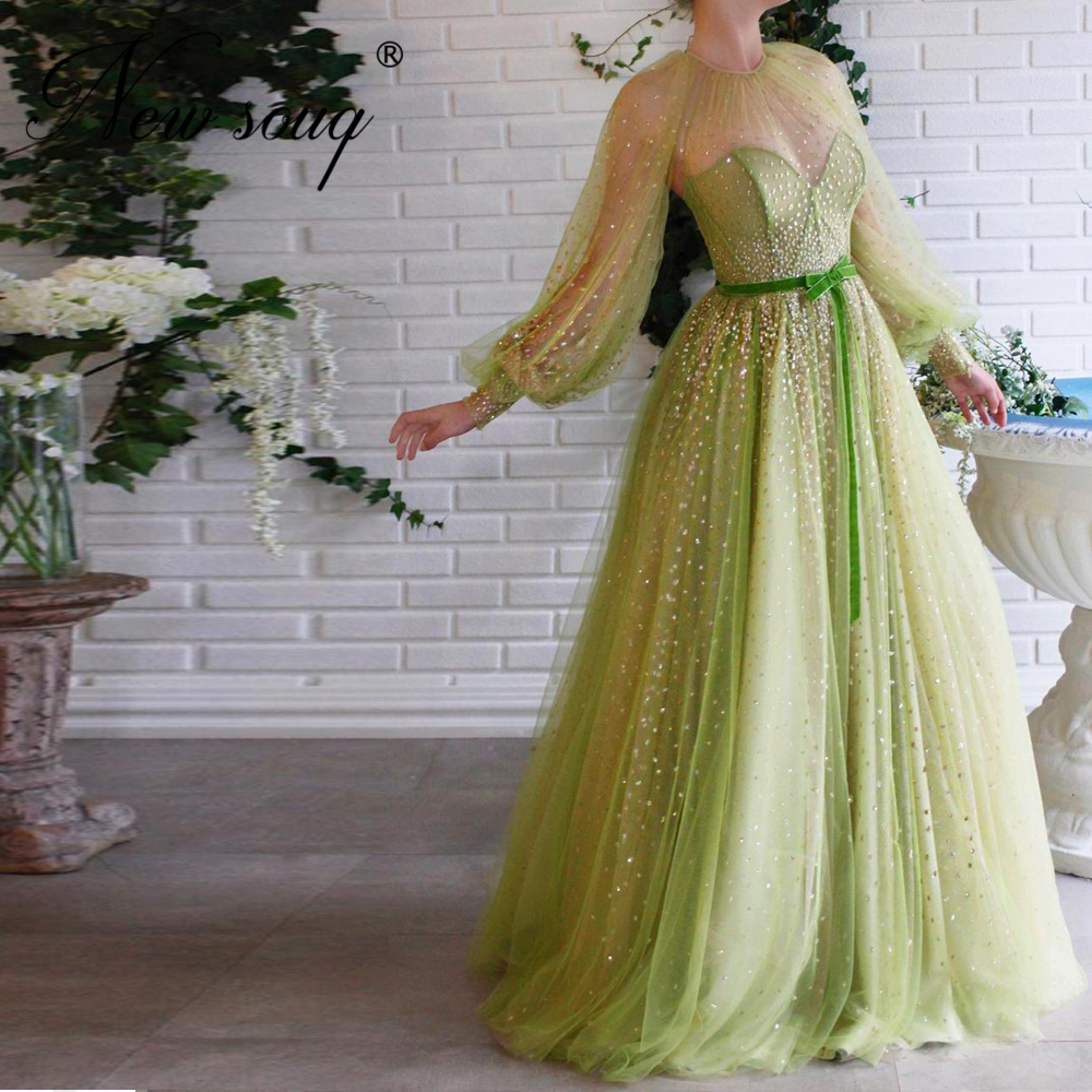 Shiny Mint Evening Dresses New Arrival Long Sleeve Formal Dubai Middle East Prom Dress Robe De Soiree Turkish Arabic Party Gown