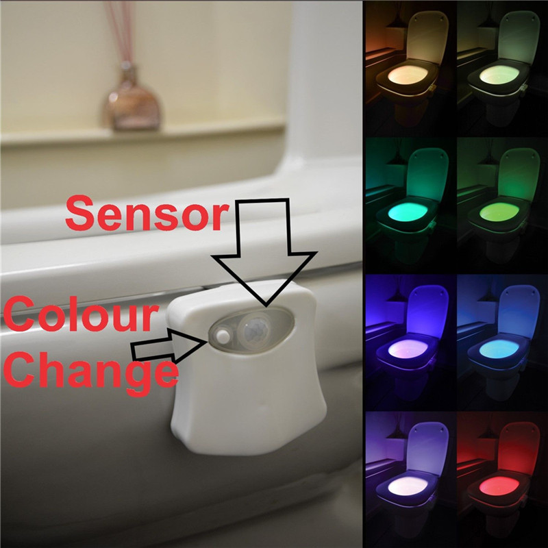 Smart RV Toilet Night Light LED Body Motion Activated On/Off Seat Sensor Lamp 8 Color PIR Toilet Night Light Lamp For Motorhome